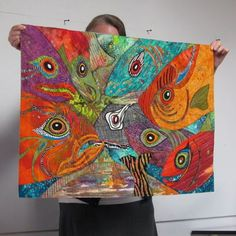 Portland Modern Quilt Guild - just love all the eyes-- amazing fish quilt! Patchwork Quilting, Art Quilting, Quilt Art, Quilting Projects, Quilting Designs, Fish Quilt, Japanese Quilts, Animal Quilts, Textiles