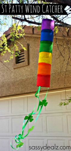 Rainbow Paper Towel Wind Catcher Craft For Kids! #St Patricks Day art project #Recycled Tube #Shamrocks | CraftyMorning.com