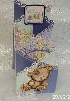 New Baby zig zag card design made using Tattered Lace dies.