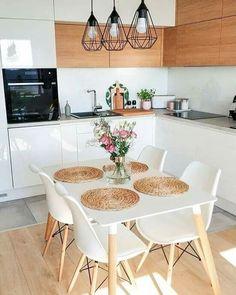 50 Amazing Little Apartment Kitchen Decor Ideas . - 50 amazing little apartment kitchen decor ideas … # - Small Apartment Kitchen, Home Decor Kitchen, Kitchen Interior, Home Kitchens, Table In Small Kitchen, White Kitchen Tables, Small Apartment Decorating, Little Kitchen, Kitchen Chairs