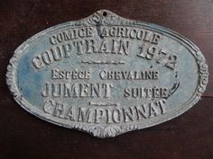 Vintage French agricultural farming beef cattle cow livestock winner blue metal prize trophy plaque agriculture farm 1972 / English Shop