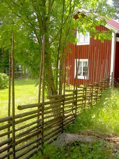 Wonderful example of round pole fencing. Wood Fence Post, Dog Fence, Swedish Cottage, Red Cottage, Sweden House, Red Houses, Swedish Style, The Beautiful Country, Garden Fencing