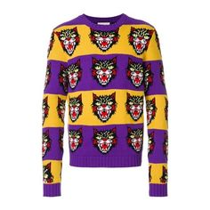 GUCCI Angry Cat Sweater ($932) ❤ liked on Polyvore featuring men's fashion, men's clothing, men's sweaters, multi, mens striped sweater, mens cat sweater, gucci mens sweater, mens wool sweaters and mens woolen sweaters