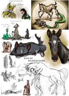 Loki's Children on DeviantArt. Can we just appreciate the comic down the right side? Loki is just having a conversation with Thor, when Jormanjund slithers up his jacket. He is then tackled and trampled on by Sleipnir, with Fenris hot on his heels. Poor Loki!