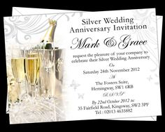 Personalised Silver Wedding Anniversary Invitations. Prices start from £7.50. Free envelopes and delivery (UK only).
