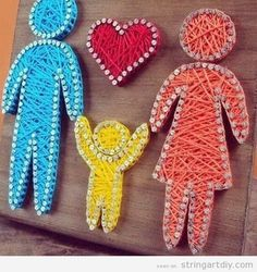 String Art decorate kids bedroom, family and heart