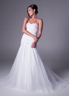 Bride&co wedding dress, Strapless, drop-waist wedding gown