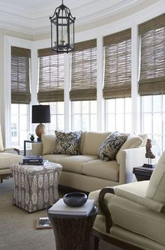 Woven Wood Shades - Beach House Blinds - Mediterranean Window Treatments by Distinctive Window Designs Living Room Windows, My Living Room, Home And Living, Living Spaces, Sunroom Windows, Kitchen Windows, Bay Windows, Sunroom Blinds, Kitchen Blinds