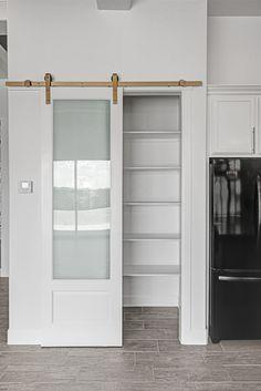Sliding Pantry Doors, Kitchen Pantry Doors, White Pantry, Modern Farmhouse Kitchens, Farmhouse Decor, Custom Pantry, Pantry Ideas, Kitchen Ideas, Custom Homes