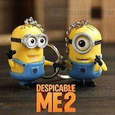 2Pcs  Despicable Me Minion Toy Keyring Key Chain 3D Eyes Stuart Jorge 2015 NEW