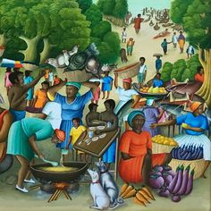 "Detail from ""Seaside Market"" by Ezene Domond. Jamaican Art, Black Art Painting, Haitian Art, African Paintings, Caribbean Art, Africa Art, Tropical Art, African American Art, Naive Art"