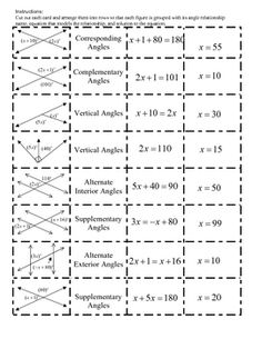Angle Relationships and Equations Cut-out Activity