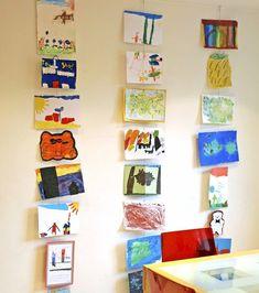 Ways to display kids' art new house дом, дети, пространства Childrens Art Display, Childrens Artwork, Displaying Kids Artwork, Artwork Display, Hanging Kids Artwork, Wire Picture Holders, Exposition Photo, Art For Kids, Kids Art Space