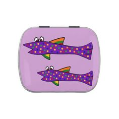 Funky Fish Candy Tin #fish #trout #funny #candy #tins #art And www.zazzle.com/inspirationrocks*