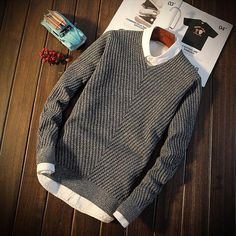 Men's Round Collar Thick Sweater