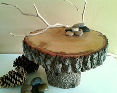 "10"" Rustic Cake Stand with River rocks - Rustic wedding - Holiday decor - cabin decor - Centerpiece - Christmas - Thanksgiving on Etsy, $50.00"