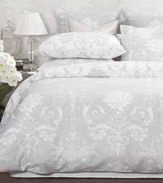 Our sophisticated Josette print bedlinen is now available in elegant dove grey, new in store and onl Dove Grey Bedroom, Grey Bedroom Decor, Grey Room, Bedroom Art, Bedroom Ideas, Master Bedrooms, King Bedding Sets, Luxury Bedding Sets, King Comforter
