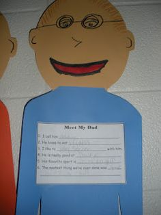 """All About My Dad Art and Writing Activity.  I think I would let kids choose a """"special person"""" for those that don't have a father figure.  Would be great for mother's day too!"""