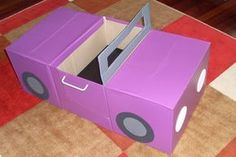 Cardboard Box Crafts For Kids - Cardboard Car Recycle Cardboard Box, Cardboard Car, Cardboard Box Crafts, Cardboard Furniture, Cardboard Playhouse, Cardboard Castle, Diy Playhouse, Kids Crafts, Projects For Kids