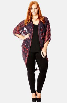 City Chic Mirrored Print Kimono Jacket (Plus Size)