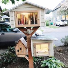 """Kelly Rae Roberts-Little Free Library and Leave a Letter Box additional """"take a letter, leave a letter"""" box Little Free Library Plans, Little Free Libraries, Little Library, Street Library, Mini Library, Lending Library, Bird Boxes, Book Nooks, Diy Wood Projects"""