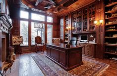 """Jonathan's home office in """"You Called Me"""" where the short bread cookie, whiskey and ice cream scene happened. Home Office Design, Home Office Decor, House Design, Luxury Office, Home Libraries, Deco Design, Office Interiors, House Rooms, My Dream Home"""