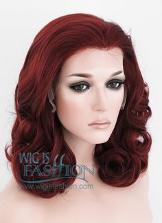 """16"""" Medium Curly Red Lace Front Synthetic Hair Wig LF366"""