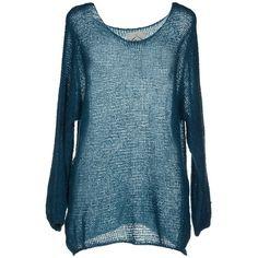 M.v. Maglieria Veneta Jumper ($62) ❤ liked on Polyvore featuring tops, sweaters, slate blue, blue jumper, blue sweater, blue top, wool jumper and lightweight sweaters