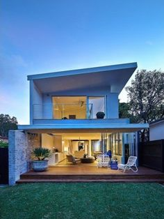 Surprising Modern Home Design With Beach Inspiration: Beautiful Interior  Lighting Modern Home In Sydney Dusk View