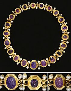 A necklace of twenty-one Roman amethyst ring stones circa century century A. all mounted as a necklace in a Renaissance-style setting of octagonal linked segments looped together, with pearls projecting from the loops 19 in. Roman Jewelry, Old Jewelry, Antique Jewelry, Jewelery, Vintage Jewelry, Fine Jewelry, Viking Jewelry, Ideas Joyería, Amethyst Jewelry