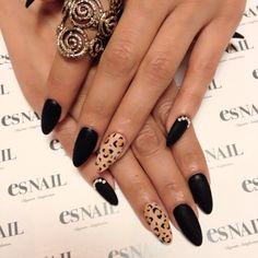 leopard & black nail design