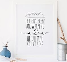 Let Him Sleep Typographic Nursery Wall Art by Rory & The Bean, the perfect gift for Explore more unique gifts in our curated marketplace. Nursery Wall Quotes, Nursery Wall Art, Quote Prints, Framed Prints, Art Prints, White Nursery, Boy Quotes, Kids Prints, Fine Art Paper