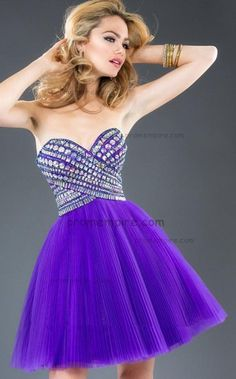 Iridescent Stones Strapless Short Purple Homecoming Dresses