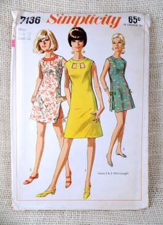 Simplicity 7136 vintage sewing pattern mini sleeveless carwash Keyhole Skirt shorts Bust 32 1960s shift shorts romper tennis dress
