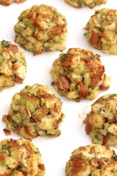 Stuffing Balls -- Clever, portion-controlled, and a surefire hit on a holiday table or alongside a variety of poultry and pork dishes throughout the year. They're easy to make for any size crowd and offer prep-ahead convenience. Thanksgiving Stuffing, Thanksgiving Appetizers, Thanksgiving Recipes, Fall Recipes, Holiday Recipes, Thanksgiving 2020, Easter Recipes, Turkey Stuffing, Holiday Meals