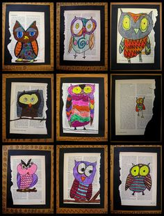 Owls on newspaper~would be great kindergarten art! Owl Art, Bird Art, Arte Elemental, 2nd Grade Art, Fourth Grade, Creation Art, Ecole Art, School Art Projects, Art School