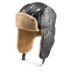 7c886b1f Guide Gear Cabretta Leather Aviator Hat, Black - 182158, Hats & Caps at