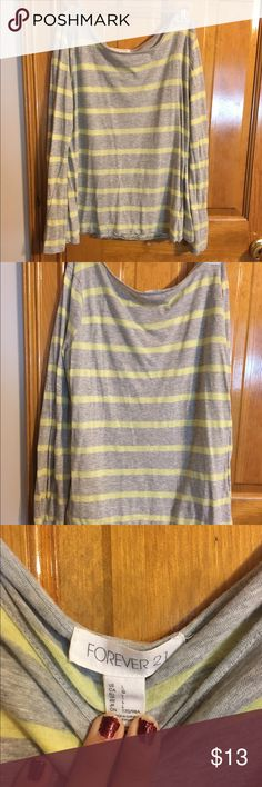 Forever 21 Long Sleeve Tee Grey & yellow striped long sleeve shirt from Forever 21 Forever 21 Tops Tees - Long Sleeve