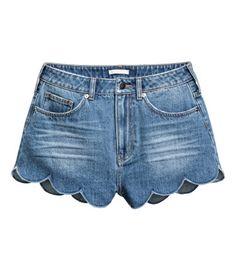 Jeansshorts med uddkant   Denimblå   Dam   H&M SE
