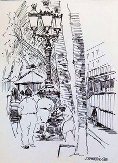 La Font de Canaletes, Barcelona. Joaquim Francés (ink)