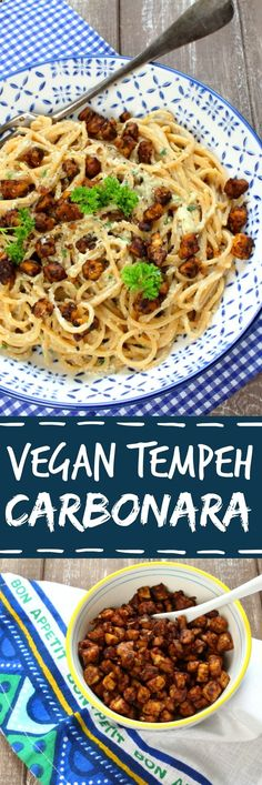Vegan Tempeh Carbonara with Spaghetti. Super creamy and crispy!  Check out the recipe at veganheaven.org! #vegan #healthy #tempeh #vegetarian #pasta #carbonara