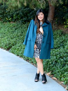 Curvy Girl Chic Plus Size Fashion Blog Talbots teal coat with black fur collar and ASOS art deco print dress