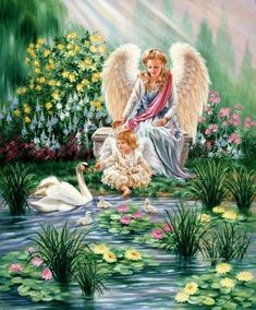 This reminds me of my Mother. She loved angels, swans and little children. And Loved Her Kids!