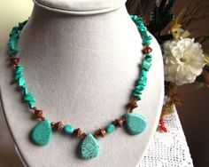 Necklace of Chalk Turquoise Chips Magnesite by SaraJewelryDesign, $39.99