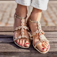 f03ab35257af Wear with denim or that little black dress  this sandal goes with anything  in your closet. While also a flower