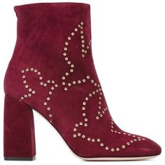 Red Valentino eyelet detail booties (2.225 RON) ❤ liked on Polyvore featuring shoes, boots, ankle booties, red, eyelet boots, red leather booties, genuine leather boots, red valentino boots and red valentino