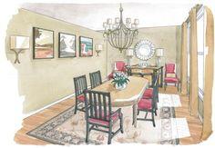 interior design, dining room, sketch, concept