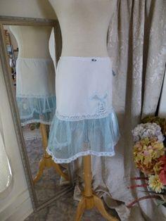 Glam Garb Ruffle Slip Skirt White/Blanchette S/M Handmade USA Romantic Elegant Victorian Steam-punk Vintage Bridal Retro Embellished OOAK $50.00 www.glamgarb.com