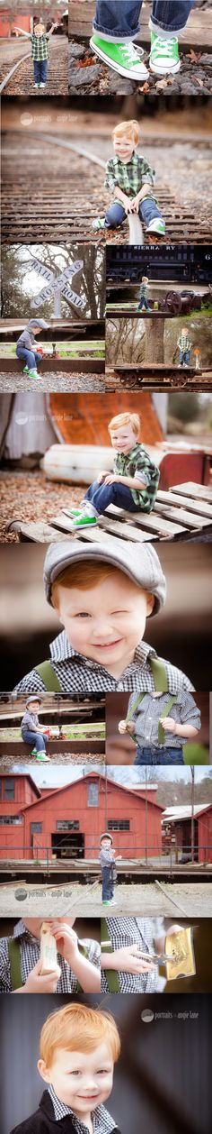 NEVER shoot at train tracks but cute pose ideas All about me session boy train session Portraits by Angie Lane Boy Birthday Pictures, Boy Pictures, Boy Photos, Cute Photos, Music Pictures, Theme Pictures, Toddler Photography, Family Photography, Photography Ideas