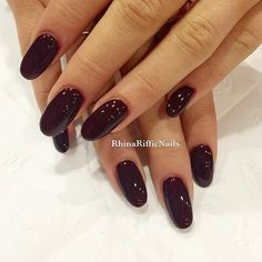 long burgundy oval nails. similar to ariana grande's length and style. // nails.
